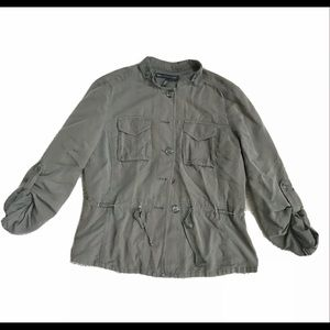 White House Black Market army green jacket coat 4